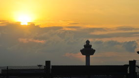 Silhouette of Singapore Changi Airport Stock Photo