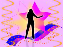 Silhouette of the singer. Black silhouette of the singer on a background of a pink star Stock Image