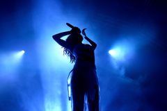 Silhouette of the singer of FKA Twigs (band) in concert at Sonar Festival Stock Image