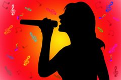 Silhouette singing woman. Silhouette singer over the red-yellow with notes background Stock Photo