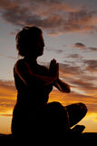 Silhouette sit yoga prayer angle Royalty Free Stock Images