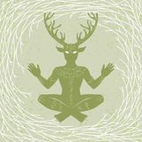 Silhouette of the sitting horned god Cernunnos. Mysticism, esoteric, paganism, occultism. Royalty Free Stock Images