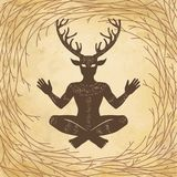 Silhouette of the sitting horned god Cernunnos. Mysticism, esoteric, paganism, occultism. Vector illustration. Background - tree branches royalty free illustration