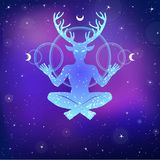 Silhouette of the sitting horned god Cernunnos. Mysticism, esoteric, paganism, occultism. Stock Images