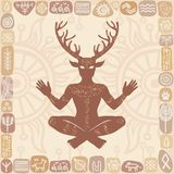 Silhouette of the sitting horned god Cernunnos. Mysticism, esoteric, paganism, occultism. Stock Image