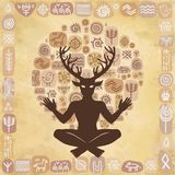 Silhouette of the sitting horned god Cernunnos. Mysticism, esoteric, paganism, occultism. Royalty Free Stock Photography