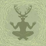 Silhouette of the sitting horned god Cernunnos. Mysticism, esoteric, paganism, occultism. Vector illustration. Background - tree branches vector illustration
