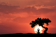 Silhouette of a sitting woman practicing yoga Stock Photo
