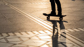 Silhouette skateboard Stock Image