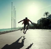 Silhouette of skateboarder Royalty Free Stock Photography