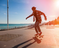 Silhouette of skateboarder Royalty Free Stock Photo