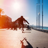 Silhouette of skateboarder Royalty Free Stock Images