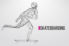 Silhouette of a skateboarder. Vector illustration Stock Photo