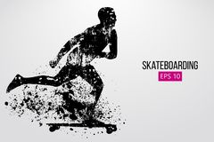 Silhouette of a skateboarder. Vector illustration Stock Photography