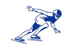 Silhouette skater on the ice, Speed skating. Winter sports. Comic cartoon style illustration vector retro Stock Images