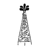 Silhouette sketch blurred oil rig icon Stock Photos