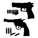 Silhouette sketch vector revolver and a pistol Royalty Free Stock Images