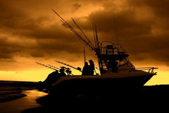 Silhouette of ski boat on the beach Royalty Free Stock Photography