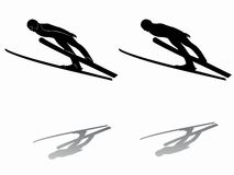 Silhouette ski jumper. vector drawing Stock Image