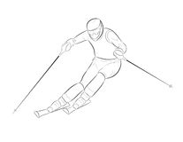 Silhouette of a skier Stock Photo