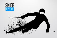 Silhouette of skier isolated. Vector illustration. Silhouette of a skier isolated. Background and text on a separate layer, color can be changed in one click