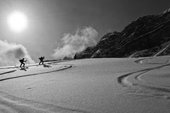 Silhouette of skiers Royalty Free Stock Photo