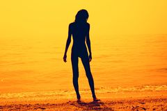 Silhouette of a skinny young girl walking along the beach. Silhouette of a slim young girl walking along the beach, pink tone stock photos