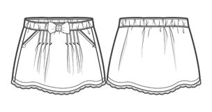 Silhouette of a skirt. Front and back view of a skirt stock illustration