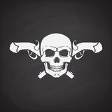 Silhouette of skull Jolly Roger with crossed pistols behind. Silhouette of skull Jolly Roger with crossed pistols at the behind on blackboard background. Vector Royalty Free Stock Image