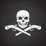 Silhouette of skull Jolly Roger with crossed pistols. At the bottom on blackboard background. Vector illustration. Danger and warning sign. Symbol on the flag Royalty Free Stock Images
