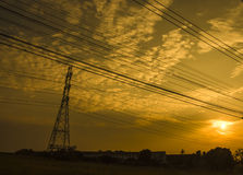 Silhouette sky and electro toll Royalty Free Stock Image
