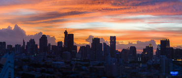 Silhouette sky line of Bangkok city. On twilight colorful sky Royalty Free Stock Photo