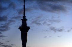 Silhouette the Sky Tower Royalty Free Stock Photography