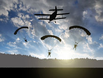 Silhouette skydiver parachutist landing Royalty Free Stock Photography