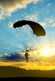 Silhouette skydiver parachutist Stock Photography