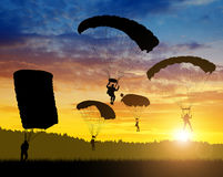 Silhouette skydiver parachutist Royalty Free Stock Images