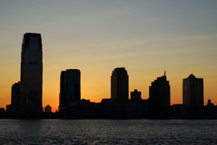 Silhouette of the skyline in New Jersey Royalty Free Stock Image