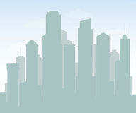 Silhouette of skyscrapers with blue sky scenery for background design. Royalty Free Stock Images