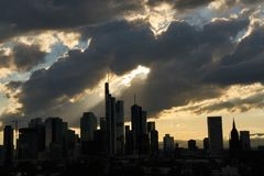 Silhouette of the skyscrapers of the city of Frankfurt am Main. Silhouette of the skyscrapers of Frankfurt am Main in the evening with clouds in the sky Stock Images