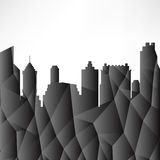 Silhouette skyscrapers city landscape geometric design brochure leaflet background Stock Photos