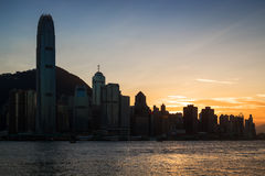Silhouette of skyscrapers in Hong Kong at dusk Royalty Free Stock Image