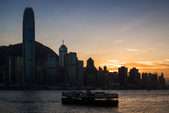 Silhouette of skyscrapers in Hong Kong at dusk Royalty Free Stock Photo