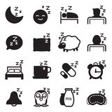Silhouette Sleep  icons Set Royalty Free Stock Images