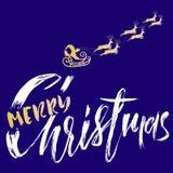 Silhouette Sleigh de Santa Claus et des rennes Lettrage de Joyeux Noël Inscription de vecteur Image libre de droits