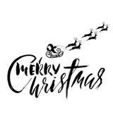 Silhouette Sleigh de Santa Claus et des rennes Lettrage de Joyeux Noël Inscription de vecteur Photo stock