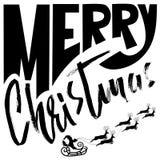 Silhouette Sleigh de Santa Claus et des rennes Modernes manuscrits de Joyeux Noël sèchent le lettrage de brosse Vecteur Photographie stock libre de droits
