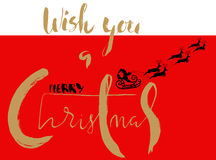 Silhouette Sleigh of Santa Claus and Reindeers. Christmas Lettering Card. EPS8 Stock Images