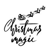 Silhouette Sleigh of Santa Claus and Reindeers. Christmas Lettering.  Royalty Free Stock Images