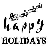 Silhouette Sleigh of Santa Claus and Reindeers. Happy Holidays Lettering. Vector illustration Royalty Free Stock Photos