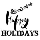 Silhouette Sleigh of Santa Claus and Reindeers. Happy Holidays Lettering. Vector illustration Stock Photos